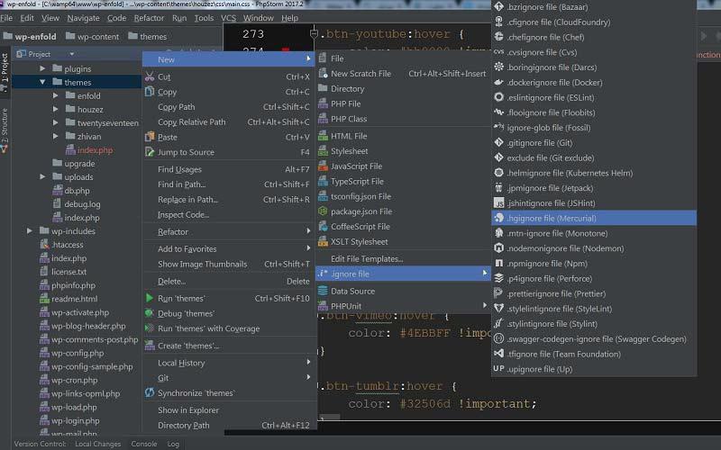 ساخت فایل ignore برای مخزن گیت در PhpStorm