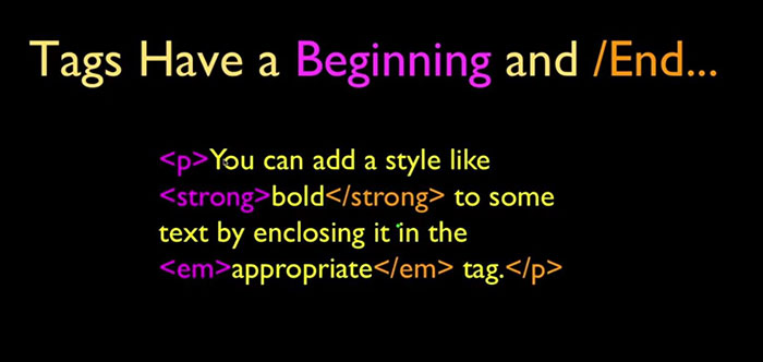 start tag و end tag در html