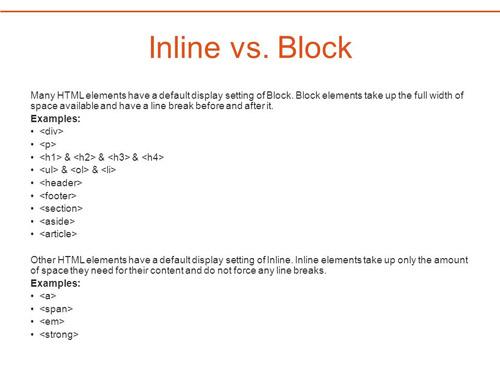 تگ های inline و block